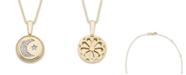 Macy's Diamond (1/20 ct. t.w.) Celestial Pendant in 14k Yellow or Rose Gold