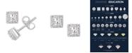 Macy's Certified Princess Diamond 1/2 ct. t.w. Halo Stud Earrings in 14k White Gold