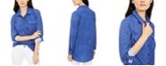 NY Collection Petite Polka Dot Button-Down Shirt