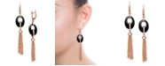 Macy's Black Onyx 20x15mm Dangle Earrings in Rose Gold over Silver
