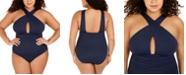 Michael Kors Plus Size Keyhole Tummy-Control One-Piece Swimsuit