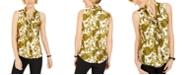 Kasper Paisley-Print Tie-Neck Top