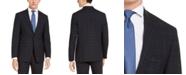 Calvin Klein Men's X-Fit Extra-Slim Fit Infinite Stretch Navy Blue Windowpane Wool Suit Jacket