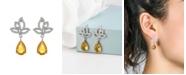 A&M Silver-Tone Peridot Accent Tear Drop Earrings