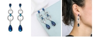 A&M Silver-Tone Sapphire Accent Layered Drop Earrings