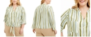 Adrienne Vittadini Plus Size Striped Tie-Front Blouse