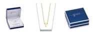 Unwritten Gratitude & Grace Gold Two-Tone Cross and Cubic Zirconia Bar Layer Pendant Necklaces