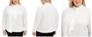 Calvin Klein Plus Size Ruffle-Front Blouse