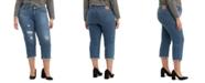 Levi's Trendy Plus Size Boyfriend Ripped  Skinny Jeans