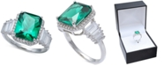 Macy's Green Cubic Zirconia Emerald Cut, Baguette, & Pave Ring (7-7/8 ct. t.w.) in Sterling Silver