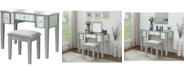 Furniture of America Hicker Mirror Inserted Vanity Set, Silver Finish