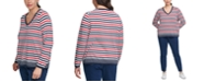 Tommy Hilfiger Plus Size Multi-Striped V-Neck Sweater