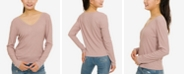 Hippie Rose Juniors' Lace-Trimmed Rib-Knit Top