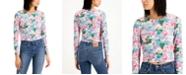 LEYDEN Floral-Print Cropped Top