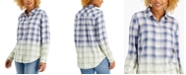 Style & Co Petite Ombré Plaid Button-Front Shirt, Created for Macy's