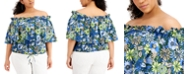 INC International Concepts INC Plus Size Cotton Printed Off-The-Shoulder Ruffled Top, Created for Macy's