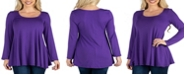 24seven Comfort Apparel Women's Long Sleeve Swing Style Flared Tunic Top
