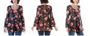 24seven Comfort Apparel Women's Floral Print Bell Sleeve Tunic Top