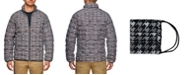 Tallia Tallia Men's Slim Fit Charcoal Houdstooth Print Puffer Jacket and a Free Face Mask With Purchase