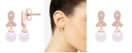Macy's Pink Cultured Freshwater Pearl (4mm) and Diamond Accent Earrings in 14k Rose Gold