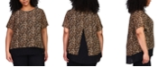 Michael Kors Plus Size Printed Layered Split-Back Top