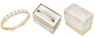 Charter Club Gold-Tone Pavé & Imitation Pearl Hinged Bangle Bracelet, Created for Macy's