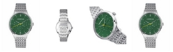 Morphic M65 Series, Green Face, Silver Bracelet Watch w/Day/Date, 42mm