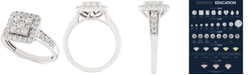 Macy's Diamond Square Halo Cluster Engagement Ring (1 ct. t.w.) in 14k White Gold