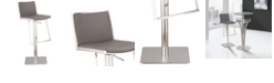 Armen Living Ibiza Adjustable Brushed Stainless Steel Barstool in Gray Faux Leather
