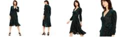 Calvin Klein Burnout Velvet Animal-Print Wrap Dress