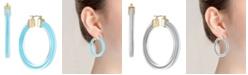 Trifari Gold-Tone Colored Resin Hoop Earrings