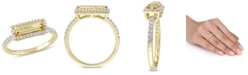 Macy's Baguette Cut Citrine  (1-1/5 ct. t.w) and White Sapphire (1/3 ct. t.w.) Halo Ring in 18k Yellow Gold Over Sterling Silver