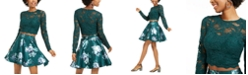 City Studios Juniors' 2-Pc. Lace Top & Floral-Print Skirt