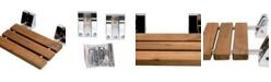 "ALFI brand Polished Chrome 16"" Folding Teak Wood Shower Seat Bench"