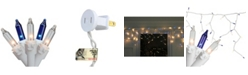 """Northlight Set of 100 Blue Clear Mini Icicle Incandescent Christmas Lights 3"""" Spacing - White Wire"""