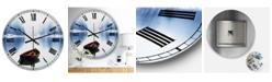 "Designart Empty Boat On Blue Lake Oversized Lake House Wall Clock - 36"" x 28"" x 1"""