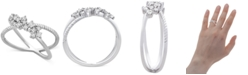 Macy's Diamond Cluster Crissross Cluster Ring (1/4 ct. t.w.) in 10k White Gold