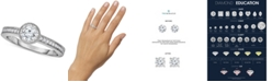 Macy's TruMiracle® Diamond Milgrain Beaded Edge Engagement Ring (5/8 ct. t.w.) in 14k White Gold