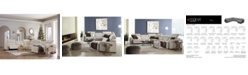 """Furniture Nevio 124"""" 5-Pc. Fabric Sectional Sofa with Chaise, 1 Power Recliner and Articulating Headrests, Created for Macy's"""