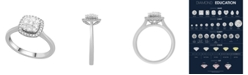 Macy's Cushion Shape Halo Cluster Diamond (1/2 ct. t.w.) Ring in 14K White Gold
