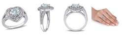 Macy's Aquamarine (1 1/2 ct. t.w.) and Diamond (1/5 ct. t.w.) Halo Heart Ring in 10k White Gold