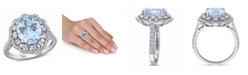 Macy's Aquamarine (2 3/4 ct. t.w.) and Diamond (3/4 ct. t.w.) Halo Ring in 14k White Gold