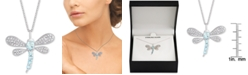 """Macy's Blue Topaz (3/4 ct. t.w.) & Diamond Accent Dragonfly 18"""" Pendant Necklace in Sterling Silver"""
