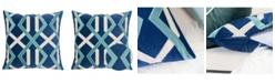 Homey Cozy Velvet Applique Embroidery Square Decorative Throw Pillow
