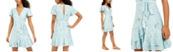 City Studios Juniors' Printed Eyelet Faux-Wrap Dress