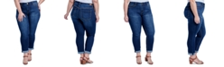 Seven7 Jeans Trendy Plus Size Tummyless Rolled-Hem Embroidered Skinny Jeans