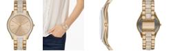 Michael Kors Women's Runway Slim Gold-Tone Stainless Steel & Alabaster Acetate Bracelet Watch 42mm