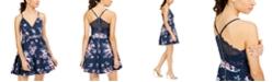 Emerald Sundae Juniors' Lace-Back Fit & Flare Dress