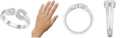 Macy's Diamond Horseshoe Cuff Ring (1/5 ct. t.w.) in Sterling Silver