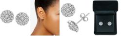 Macy's Diamond Halo Cluster Stud Earrings (1/10 ct. t.w.) in Sterling Silver